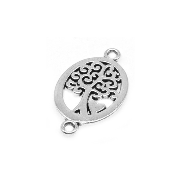 Pewter Tree of Life Connector 13.5mm x 23mm x 1.3mm (36 Pcs)