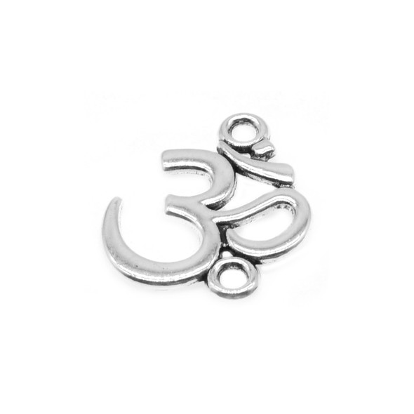 Pewter Om (Ohm) Namaste Large Connector 16.5mm x 20.4mm x 1.3mm (56 Pcs)