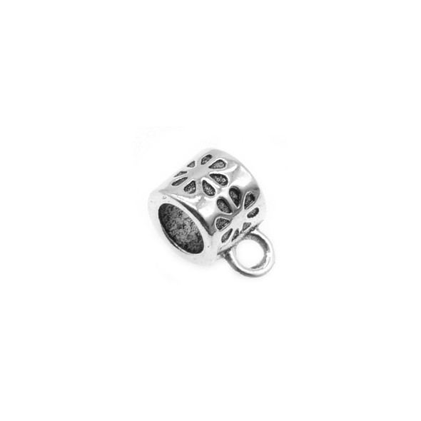 Pewter Daisy Tube Spacer with Ring 6.8mm x 6.6mm x 10.9mm (50 Pcs)