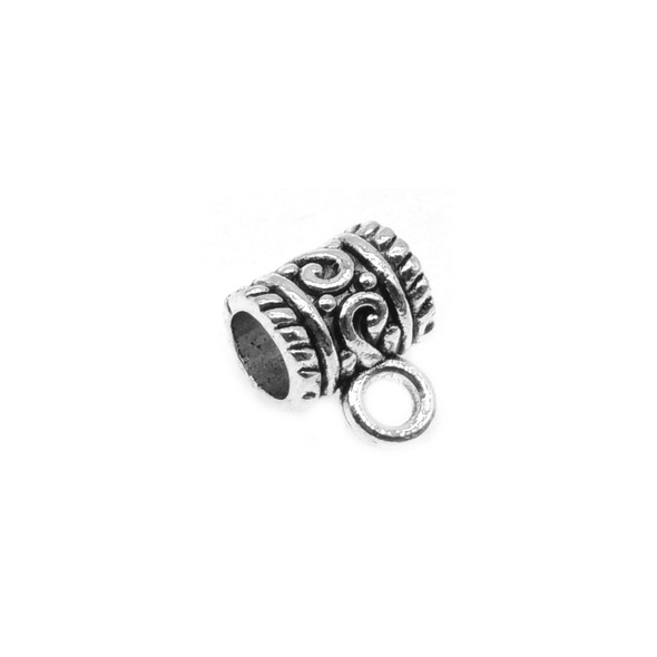 Pewter Design Tube Spacer with Ring 7mm x 8.8mm x 11.1mm (48 Pcs)