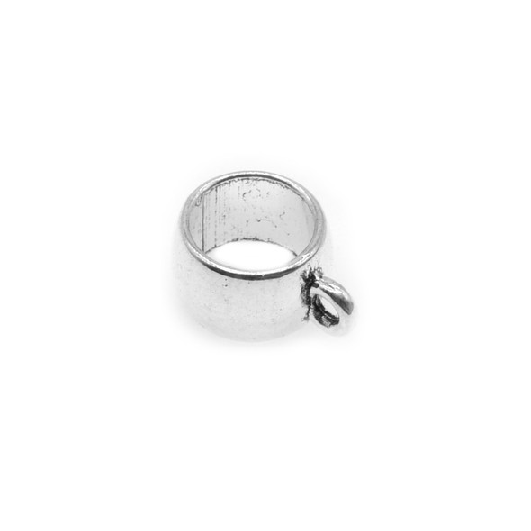 Pewter Plain Tube Spacer with Ring 10.1mm x 6.5mm x 13.8mm (38 Pcs)