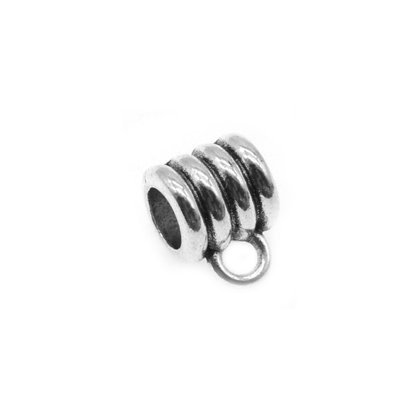 Pewter Quadruple Notch Spacer with Ring 8.2mm x 8.6mm x 11.9mm (30 Pcs)