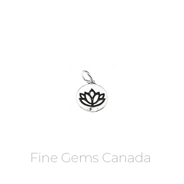 Antique Tibetan Lotus Medallion Charm with Ring (11 x 17mm) - 5/pack - 925 Sterling Silver