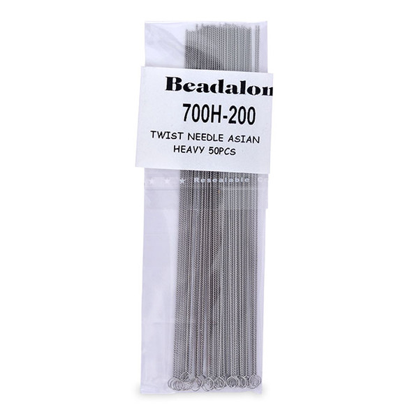 Twisted Beading Needles, Asian, Heavy, .019 in (.49 mm), 50 pc