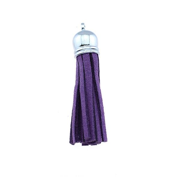 "Tassel Faux Suede with Cap 2"" - Amethyst (Pack of 3)"