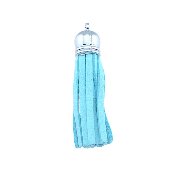 "Tassel Faux Suede with Cap 2"" - Aqua (Pack of 3)"