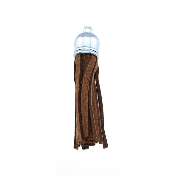 "Tassel Faux Suede with Cap 2"" - Brown (Pack of 3)"