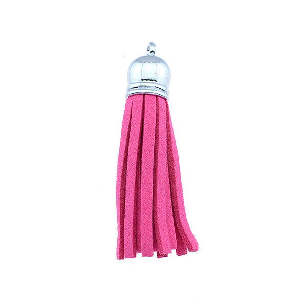 "Tassel Faux Suede with Cap 2"" - Fuchsia (Pack of 3)"