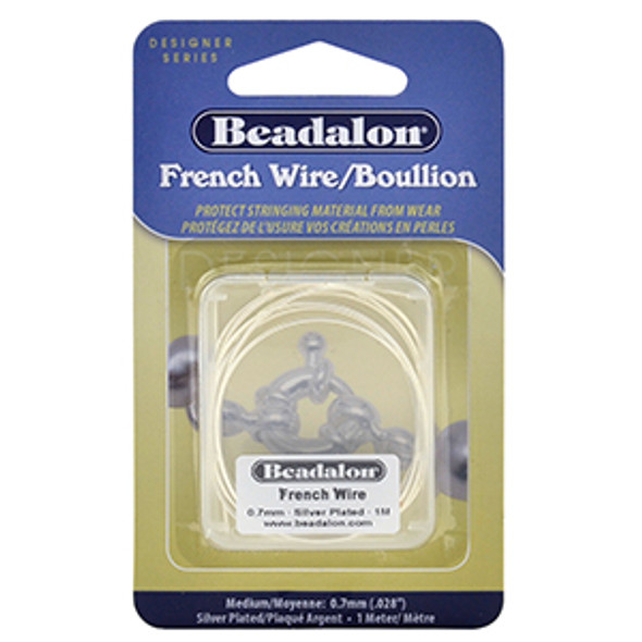 French Wire, 0.7 mm (.028 in) Silver Plated, 1 m