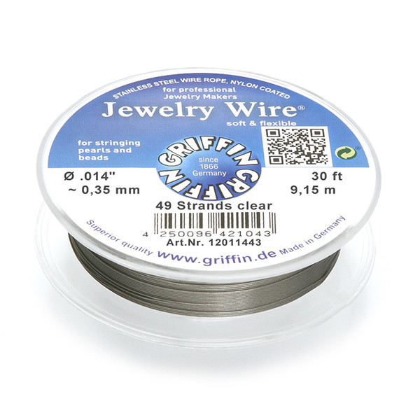 Jewelry Wire .014 inch~0,35mm/49 strands clear, 30ft~9,15m spool