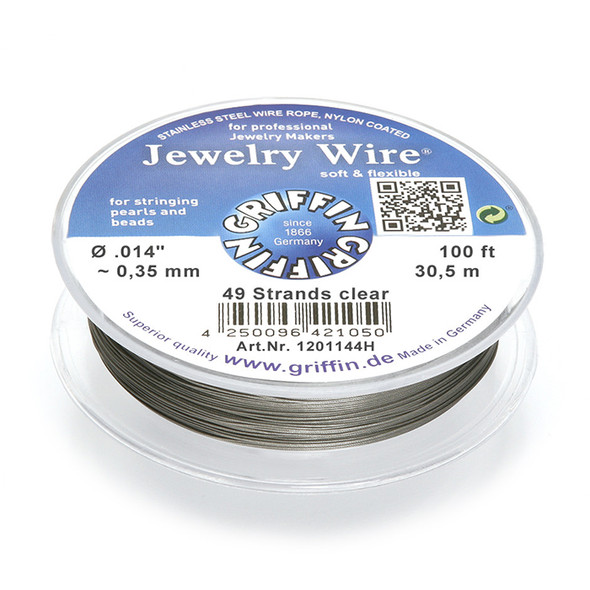 Jewelry Wire .014 inch~0,35mm/49 strands clear, 100ft~30,5m spool