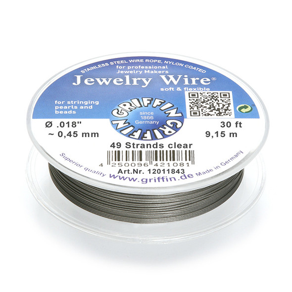 Jewelry Wire .018 inch~0,45mm/49 strands clear, 30ft~9,15m spool