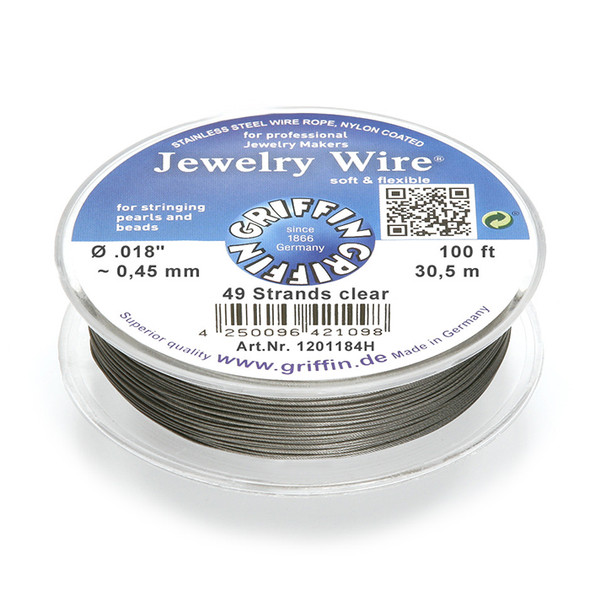 Jewelry Wire .018 inch~0,45mm/49 strands clear, 100ft~30,5m spool