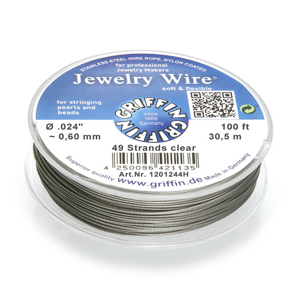 Jewelry Wire .024 inch~0,60mm/49 strands clear, 100ft~30,5m spool