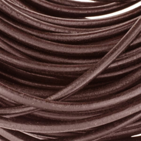 Leather Round Brown 1.0mm - Sold per 20Yards