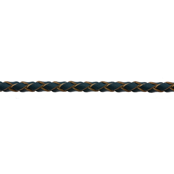 Leather Blue Braided 3.0mm - 5 Meters