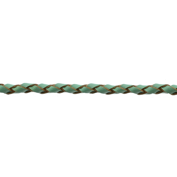 Leather Green Braided 3.0mm - 5 Meters