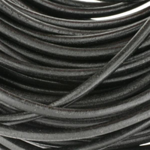 Leather Round Black 3.0mm - Sold per 10Yards