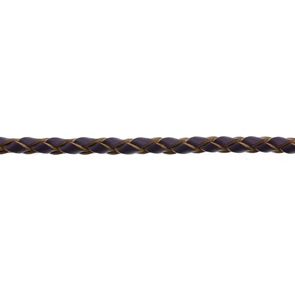 Leather Purple Braided 3.0mm - 5 Meters