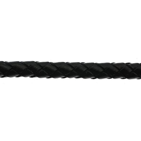 Leather Black Braided 6.0mm - 5 Meters