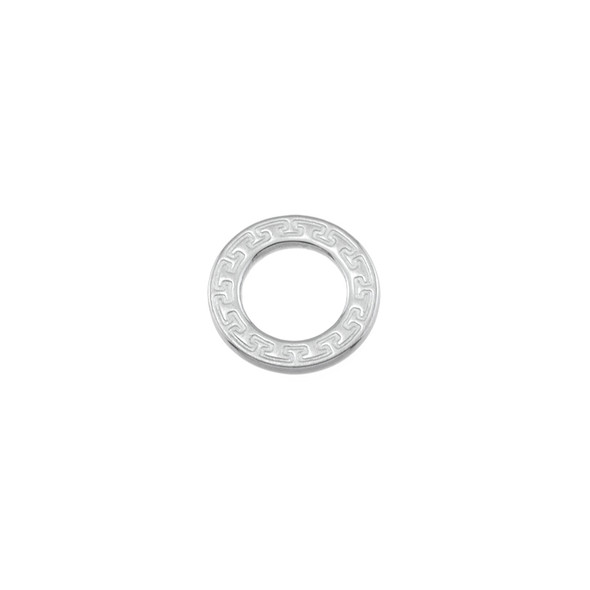 Stainless Steel Flat Circle with Pattern Ring Connector - 14mm - 15/Pack
