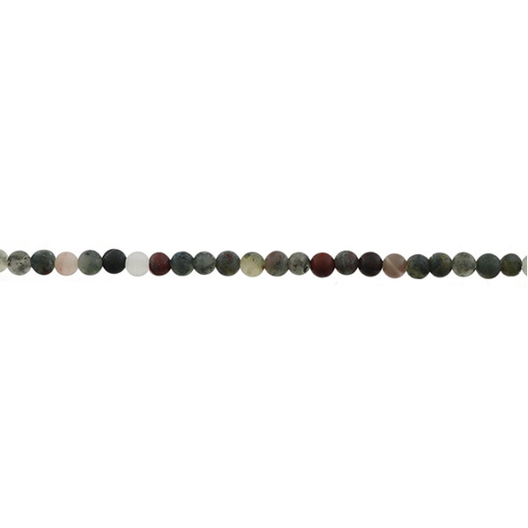 African Bloodstone Round Frosted 4mm - Loose Beads