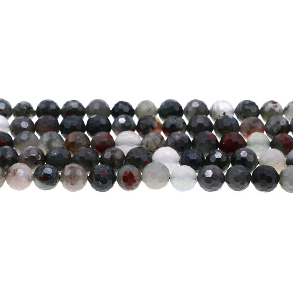 African Bloodstone Round Faceted Diamond Cut 8mm - Loose Beads