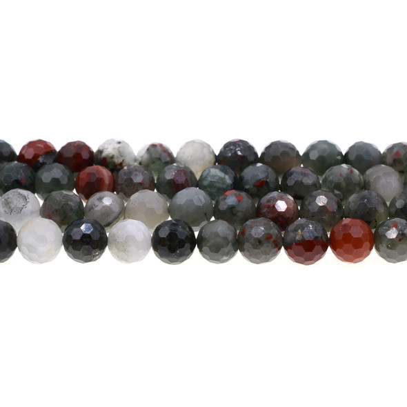 African Bloodstone Round Faceted Diamond Cut 10mm - Loose Beads
