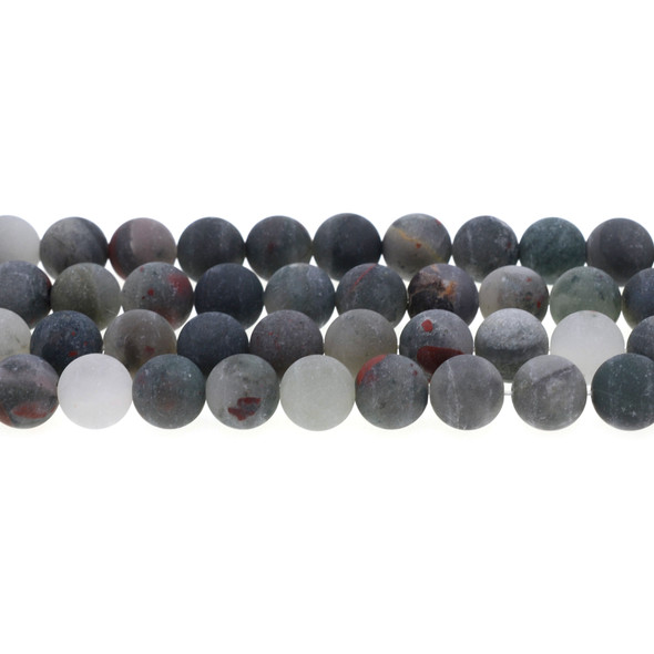 African Bloodstone Round Frosted 10mm - Loose Beads