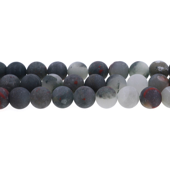 African Bloodstone Round Frosted 12mm - Loose Beads