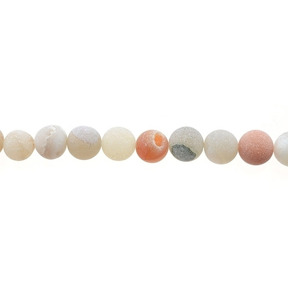 African Agate with Druzzy Round Frosted 10mm - Loose Beads