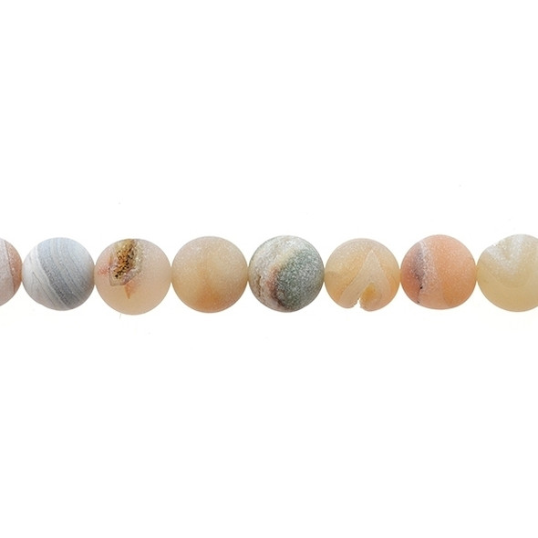 African Agate with Druzzy Round Frosted 12mm - Loose Beads