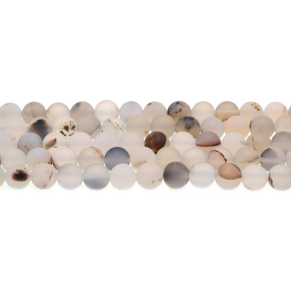 Natural African Agate Round Frosted 8mm - Loose Beads