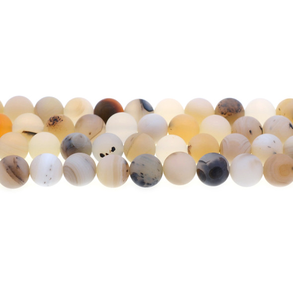 Natural African Agate Round Frosted 10mm - Loose Beads