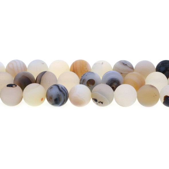 Natural African Agate  Round Frosted 12mm - Loose Beads