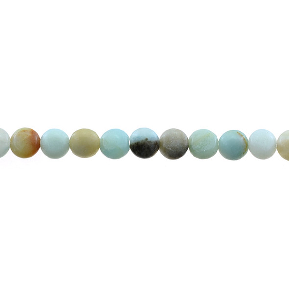Multicolor Amazonite Coin Puff 8mm x 8mm x 5mm - Loose Beads