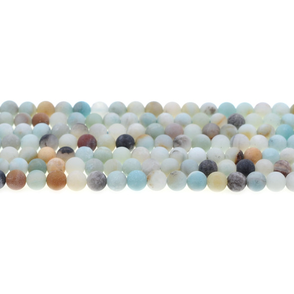 Multicolor Amazonite Round Frosted 6mm - Loose Beads