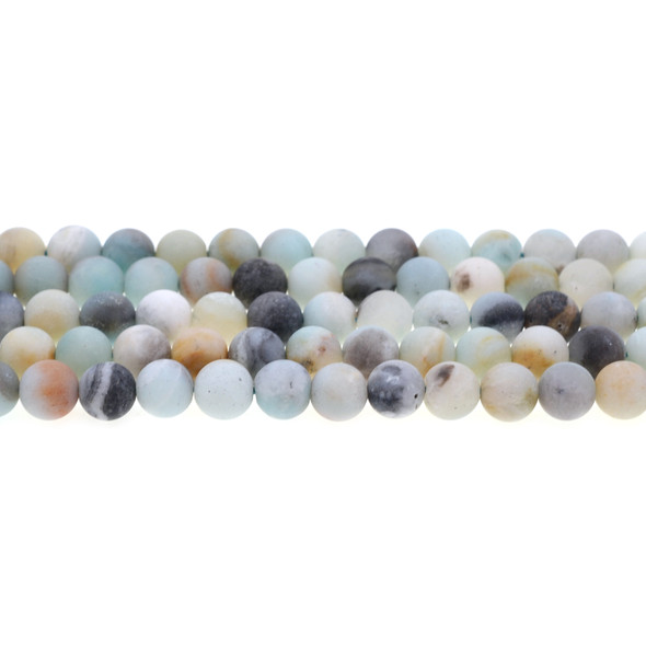 Multicolor Amazonite Round Frosted 8mm - Loose Beads
