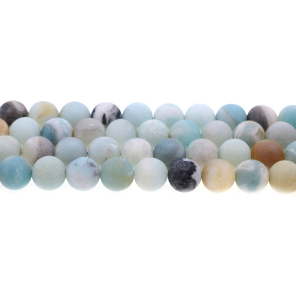 Multicolor Amazonite Round Frosted 10mm - Loose Beads