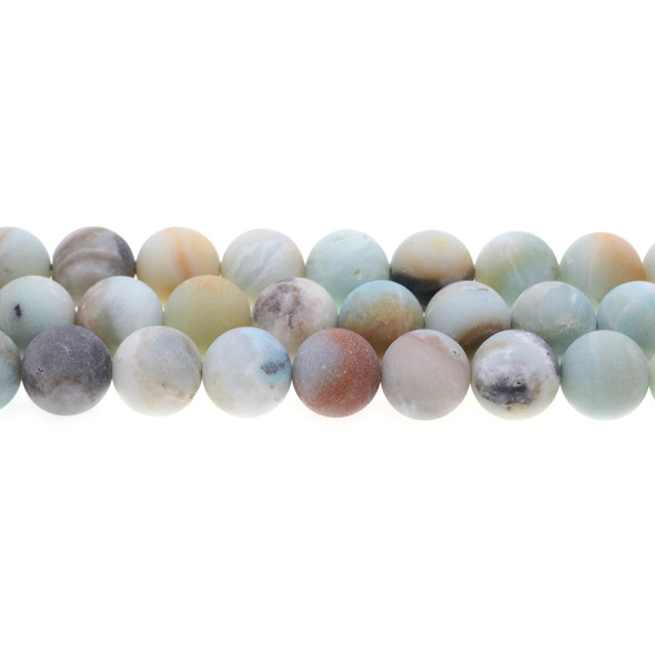 Multicolor Amazonite Round 12mm Frosted - Loose Beads