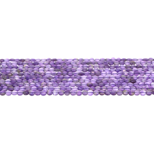 Amethyst Banded Coin Puff Faceted Diamond Cut 4mm x 4mm x 2mm - Loose Beads