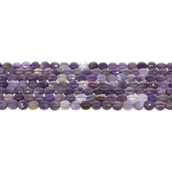 Amethyst Banded Coin Puff Faceted Diamond Cut 6mm x 6mm x 3mm - Loose Beads