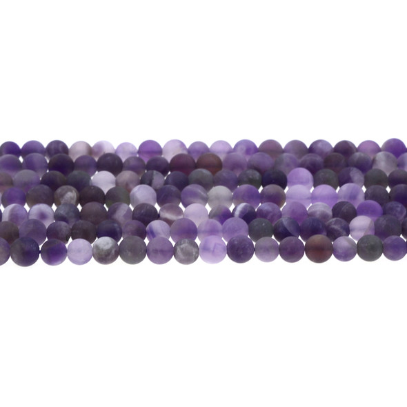 Amethyst Banded Round Frosted 6mm - Loose Beads