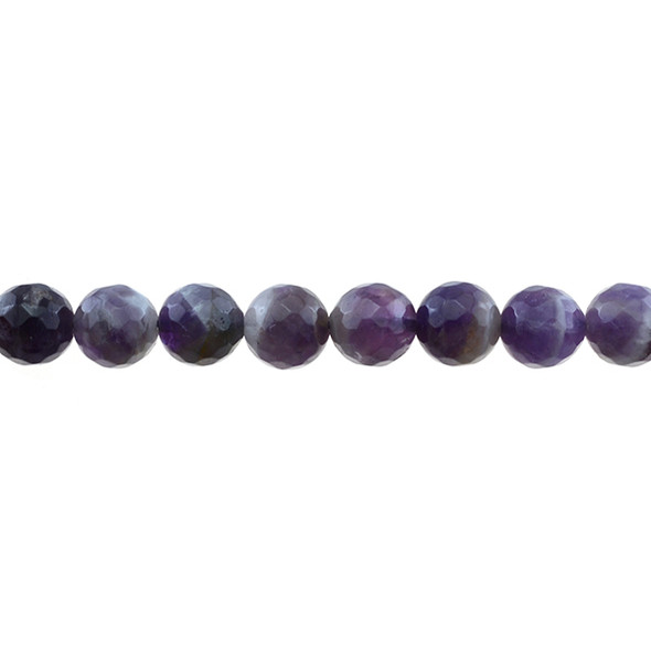 Amethyst Banded Round Faceted 10mm - Loose Beads