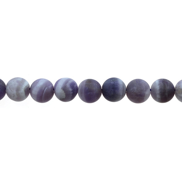 Amethyst Banded Round Frosted 10mm - Loose Beads