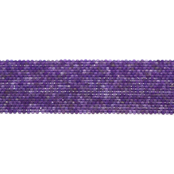 Amethyst Round Faceted Diamond Cut 2mm - Loose Beads