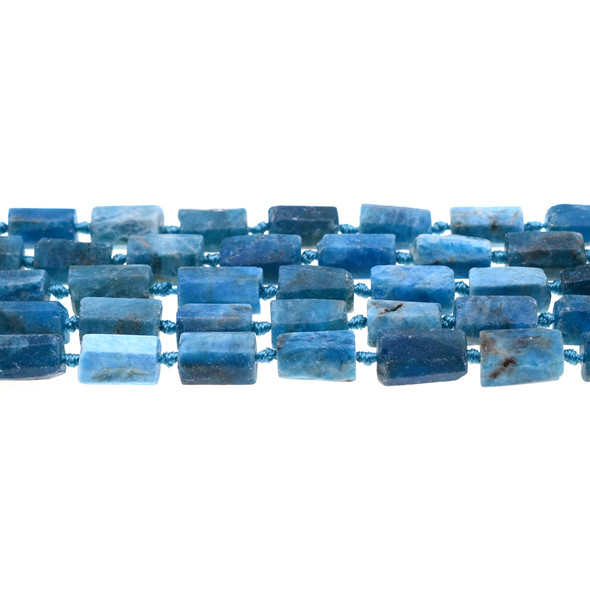 Apatite Hexagone Prism Frosted Irregular 8mm x 8mm x 10mm - Loose Beads