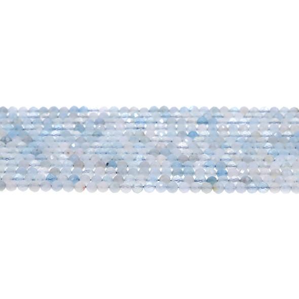 Aquamarine Round Faceted Diamond Cut 3mm - Loose Beads