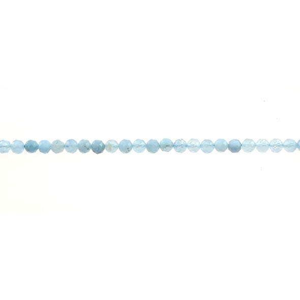 Aquamarine Round Faceted Diamond Cut 4mm - Loose Beads