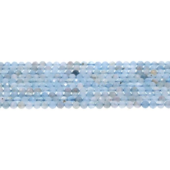 Aquamarine (AB) Round Faceted Diamond Cut 4mm - Loose Beads